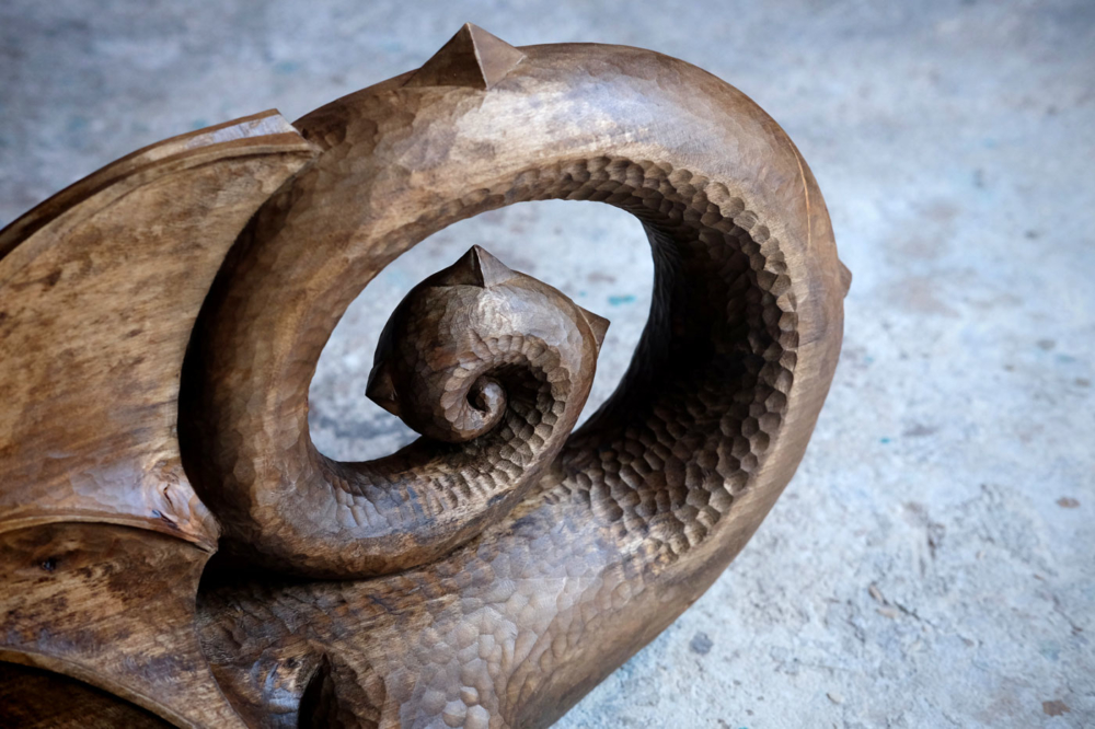 Wood dragon sculpture
