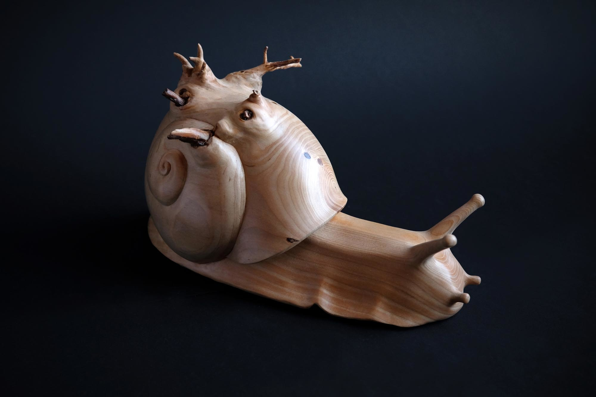 snail sculpture wood