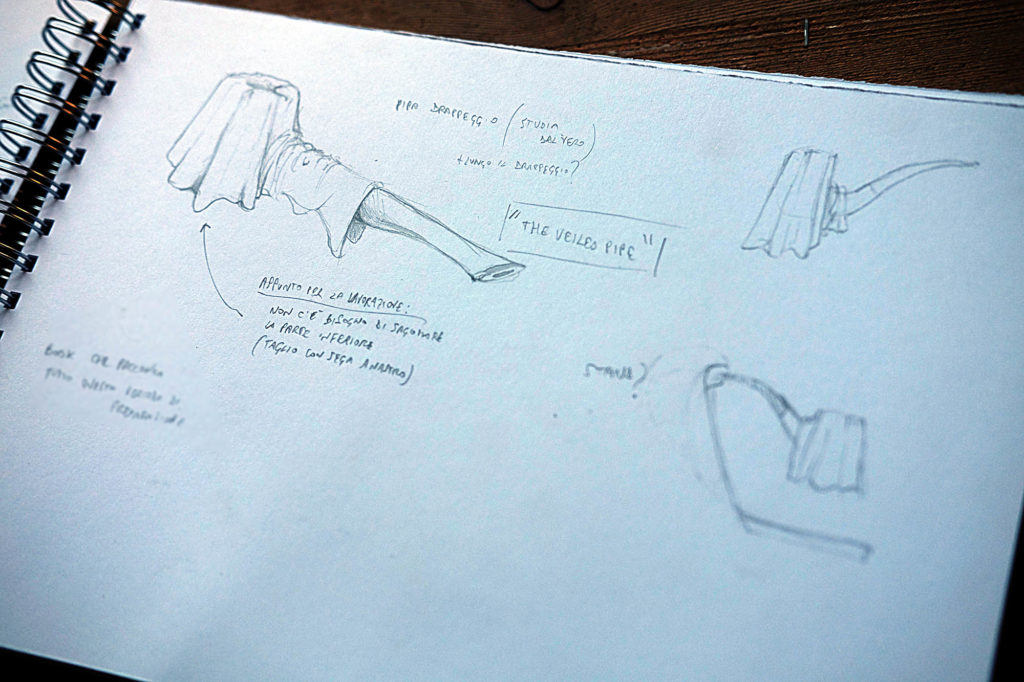 drawing sketches for the veiled pipe