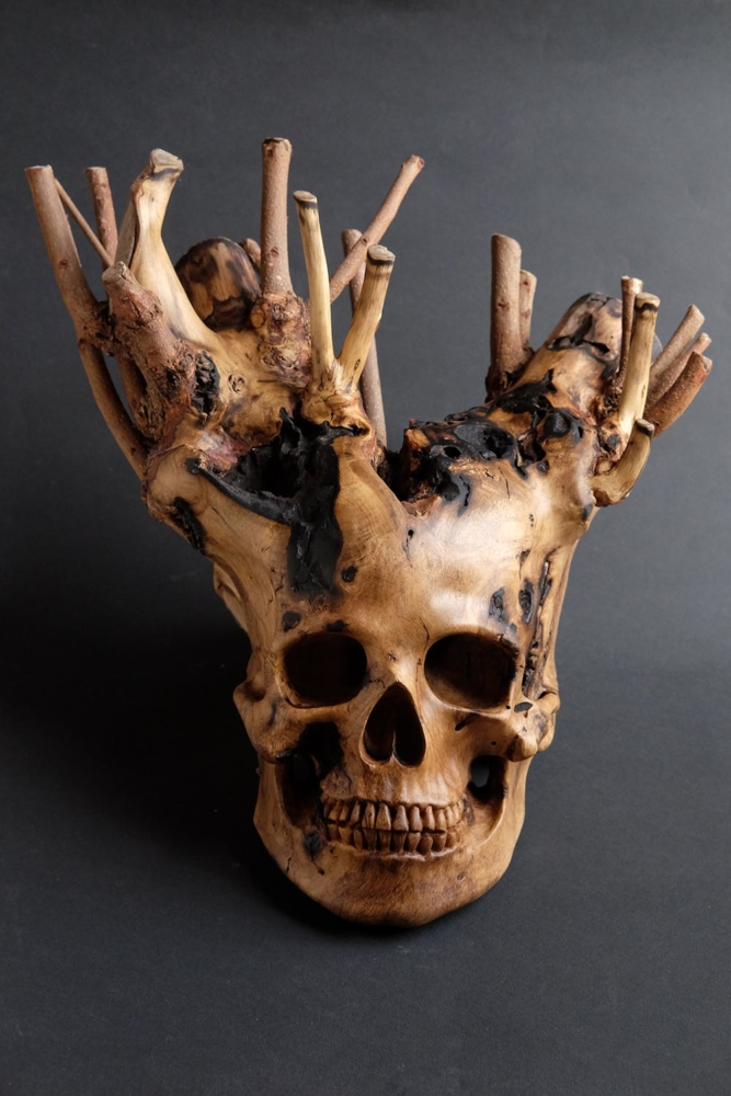 branched scull sculpture by arcangelo ambrosi